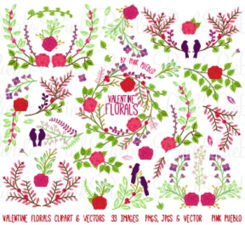 Valentine's Day Vintage Laurels and Florals Clipart Clip Art - Commercial Use