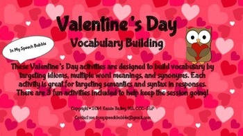 Valentine's Day-Vocabulary Building (Idioms, Multiple Mean