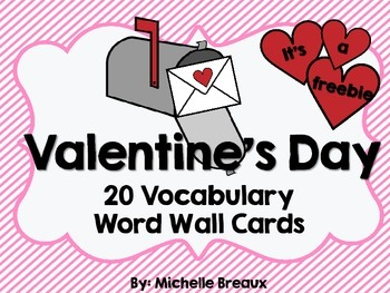 Valentines Day Vocabulary Word Wall Freebie