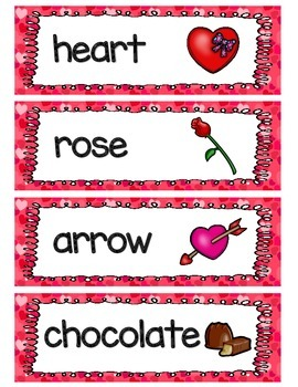 Valentine's Day Activities and Vocabulary Word Wall (includes 41 vocab cards)