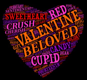 Valentine's Day Vocabulary image for Classroom Decoration Poster or Sign