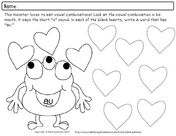 Valentine's Day Vowel Combination Phonics Practice Packet