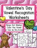 Valentines Day Vowel Recognition Worksheets - Bingo Dot Stampers - vowel dot