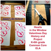 Valentines Day Window Hearts Collage Paint Valentine History Lesson Art Project