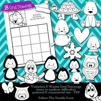 Valentine's Day & Winter Grid drawings - Easy to Medium Di