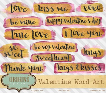 Valentines Day Word Art Phrases Overlays Pink Gold Paint Strokes Typography