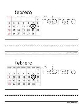 Valentine's Day Word Book (2 books: English and Spanish)