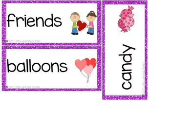Valentines Day Vocabulary Word Cards - Polka Dot