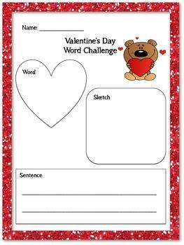 Valentine's Day Word Challenge No Prep FREEBIE
