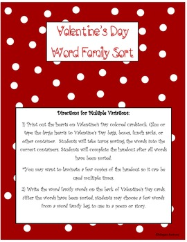Valentine's Day Word Family Sort- activity and assessment