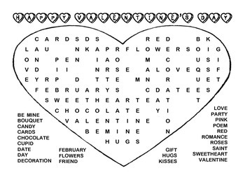 Valentine's Day Word Find