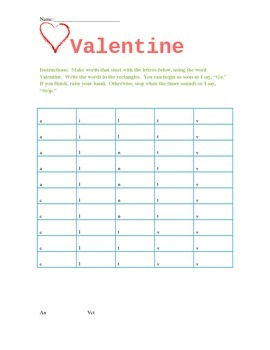 """Valentine's Day """"Word Maker"""" with Beginning Letters"""