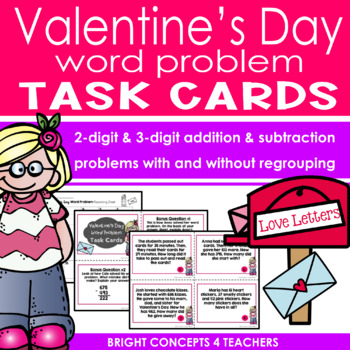 Valentine's Day Word Problem Task Cards with Regrouping