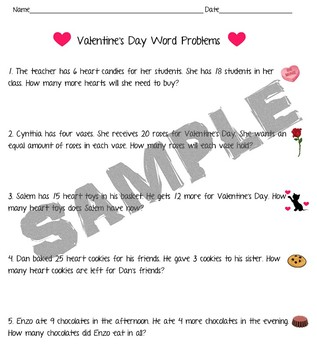 Valentines Day Word Problems