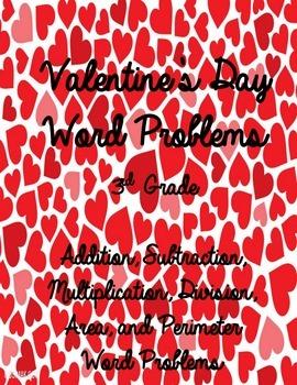 Valentine's Day Word Problems- 3rd Grade & 4th Grade