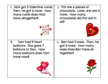 Valentine's Day Word Problems- Kindergarten (Addition and Subtraction Within 10)