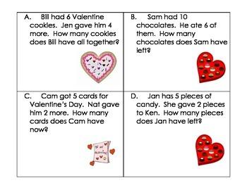Valentine's Day Word Problems- Kindergarten (Addition and