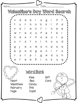 Valentine's Day Word Search 2 Versions Easy and Hard