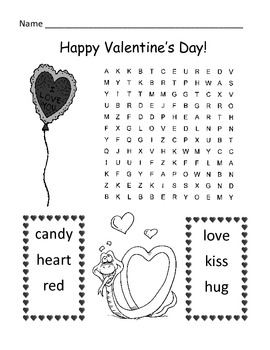 valentine 39 s day word search puzzle 1st grade by kelly connors tpt. Black Bedroom Furniture Sets. Home Design Ideas