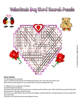 Valentine's Day Word Search Puzzle for fun in all classes