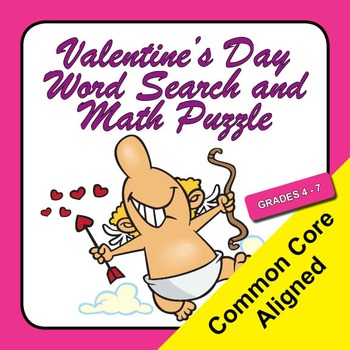 Valentine's Day Word Search and Math Puzzle - Grades 4 - 7