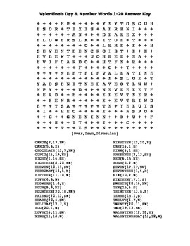 """""""Valentine's Day Word Search"""" with Number Words 1 - 20 –Fun! (Color & BlackLine)"""