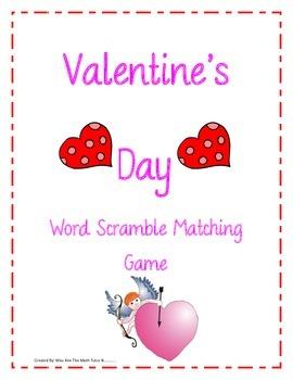 Valentine's Day Word Unscramble Fun Matching Game: 2nd, 3r