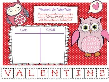 Valentine's Day Word Work - CVC & CVCE