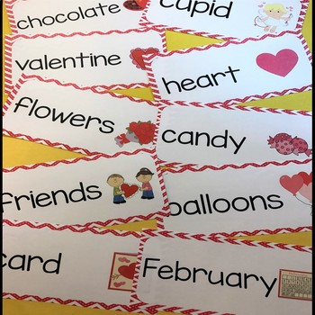 Valentines Day Vocabulary Word Cards - Chevron