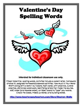 Valentine's Day Words and Activity Pack
