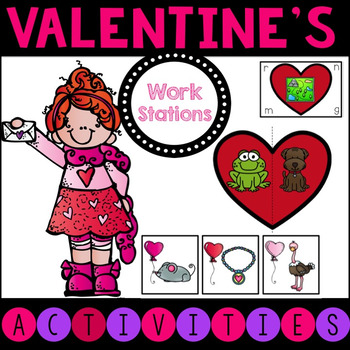 Valentine's Day Work Station Pack- CVC, Sight Words, Letters, Numbers
