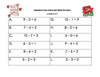 Valentine's Day Write the Room - Subtraction
