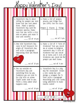 Valentine's Day Writing Contract - February ~ Six Activities