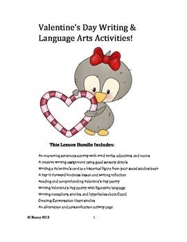 Valentine's Day Writing & Language Arts Lesson Bundle