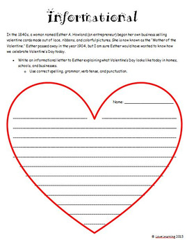 Valentine's Day Writing {Narrative, Informational, Persuasive Writing Prompts}