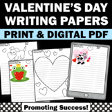 Valentine's Day Writing Papers for Literacy Centers Activities