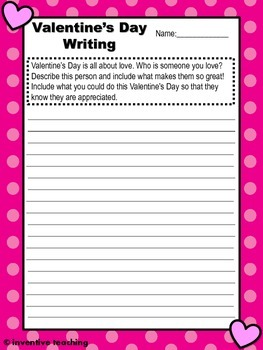photo regarding Printable Writing Prompts referred to as Valentines Working day Creating Prompts - 5 printable creating advised worksheets