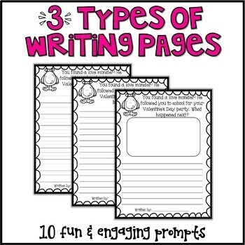 Valentines Day Writing Prompts & Page Topper Craftivities