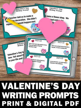 Valentine's Day Writing Prompts Literacy Centers Task Cards ELA Activity