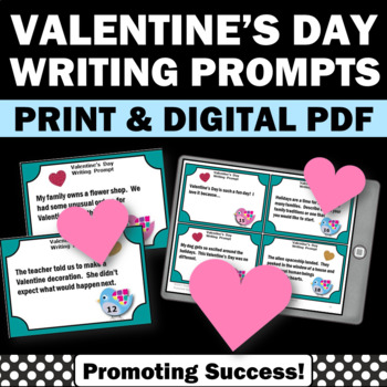 Valentine's Day Writing Prompts Literacy Centers Task Cards