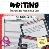 Valentines' Day Writing Prompts: Task Cards AND Worksheets
