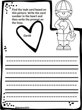 Valentine's Day Writing Prompts:Papers and Task Cards