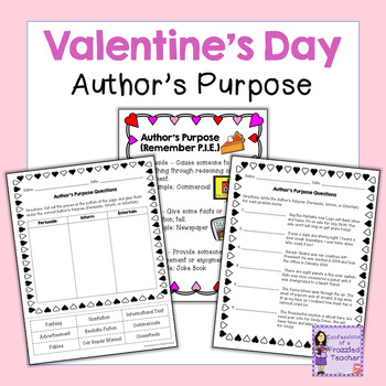 Valentine's Day Author's Purpose | Writing Activity