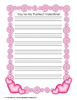 "Valentine's Day - ""You're My Purrfect Valentine"" Writing and Craft Activity"
