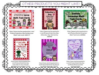 "Valentine's Day ""Zombie Love"" Bookmarks"