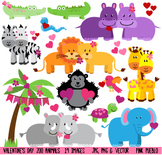 Valentine's Day Zoo Animals Clipart Clip Art - Commercial and Personal Use