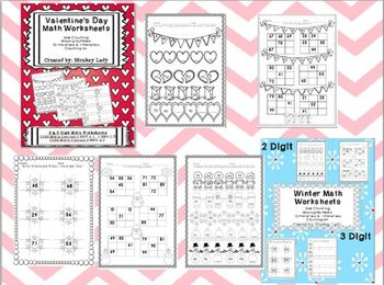 Valentine's Day and Winter Math Sheets