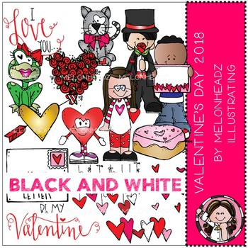 Valentines Day clip art - 2018 - BLACK AND WHITE - by Melonheadz