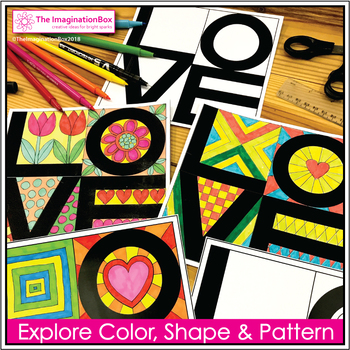 Valentines Day Coloring Pages - Pop Art Activity and Card Making