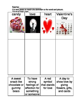 Valentine's Day cut and paste definitions